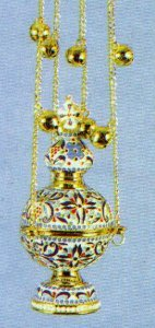 Russian Style Church Censer Gold Plated with Enamel