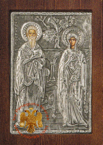 Saint Cyprian & Justina Silver Plated Icon