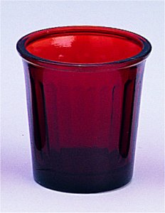 Replacement Oil Candle Glass Cup Design InLined Natural Red