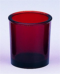 Replacement Oil Candle Glass Cup Design Cross Natural Red