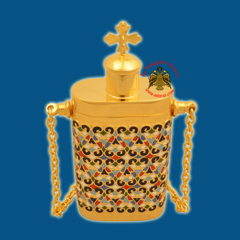 Anointing Holy Oil Bottle With Orthodox Cross Motive Enamel Gold plated