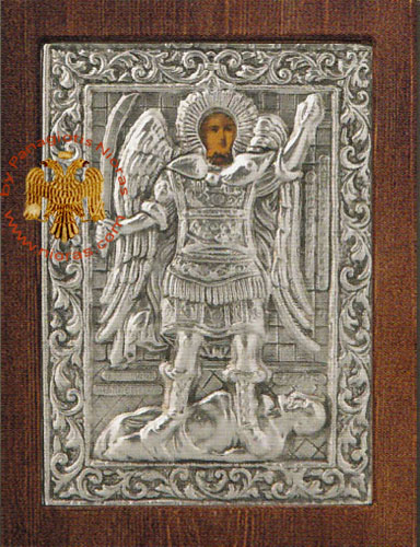 Archangel Michael Panormitis Silver Plated Icon