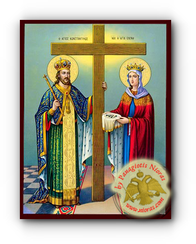 Saints Konstantine and Helena Neoclassical Wooden Icon