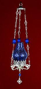 Glass Lamp Design with Beads Hanging Oil Candle