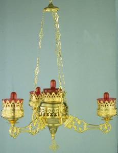 Orthodox Ecclesiastical 3-Brach Electric Hanging Oil Candles