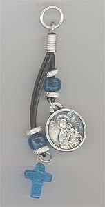 Tirkouaz Glass Cross With Theotokos and St.Christopher Metal Ico