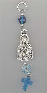 Tirkouaz Glass Cross With Theotokos Metal Icon with Blue Eye