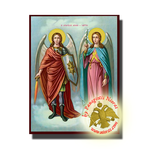 Michael and Gabriel the Holy Archangels Neoclassical Orthodox Wooden Icon