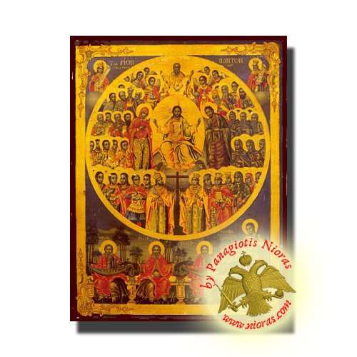 Holy Wooden Icon of All Saints Divine Chorus Classic Style