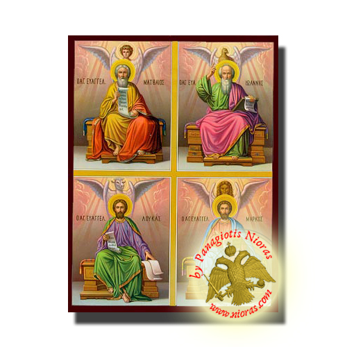 Holy Apostles and Evangelists, Saints Mark, Matthew, Luke and John the Theologian - NeoClassical Art Orthodox Wooden Icon
