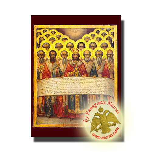 First Holy Ecumenical Council, at Nice of Bithynia - Neoclassical Wooden Holy Icon