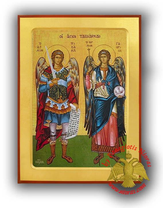 Synaxis of the Holy Archangels Michael and Gabriel, Full Body Byzantine Wooden Icon - Parnes Monastery