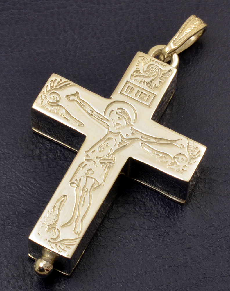 Byzantine Orthodox Cross Christ Locket with Screw Silver 925 for the Neck