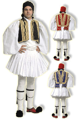 Euzonas Tsolias Black Male Traditional Dance Costume
