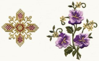 Vestment Gold Thread Cross Multicoloured Flower 0145