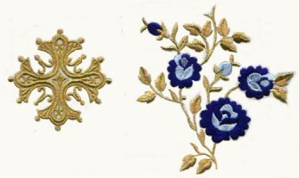 Vestment Gold Thread Cross Multicoloured Flower 04679