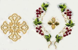 Vestment Gold Thread Cross with Grape Design 097-1