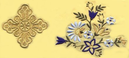 Vestment Gold Thread Cross Multicoloured Flower 7165-04