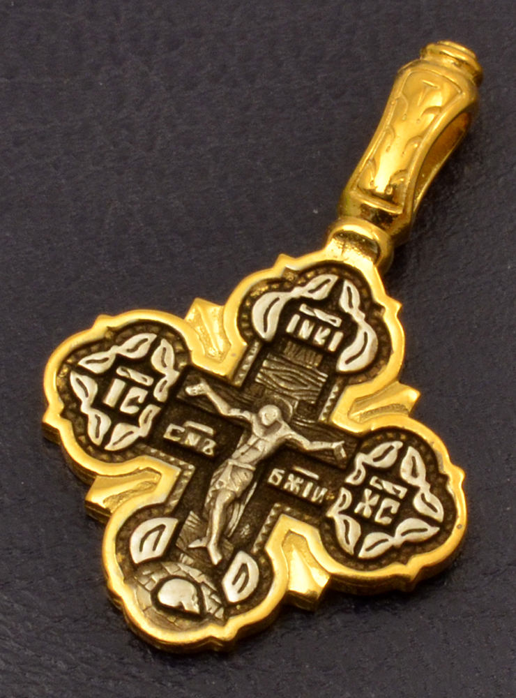 Byzantine Orthodox Cross Double Sided Silver 925 Gold Plated for the Neck